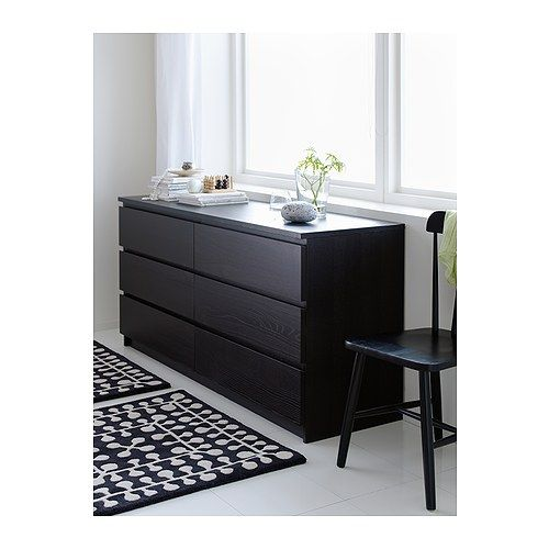 malm chest of 6 drawers black brown ikea furniture i. Black Bedroom Furniture Sets. Home Design Ideas