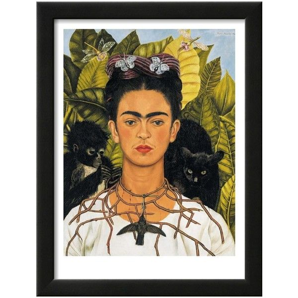 Frida Kahlo Self-Portrait with Thorn Necklace and Hummingbird, c.1940 ($95) ❤ liked on Polyvore