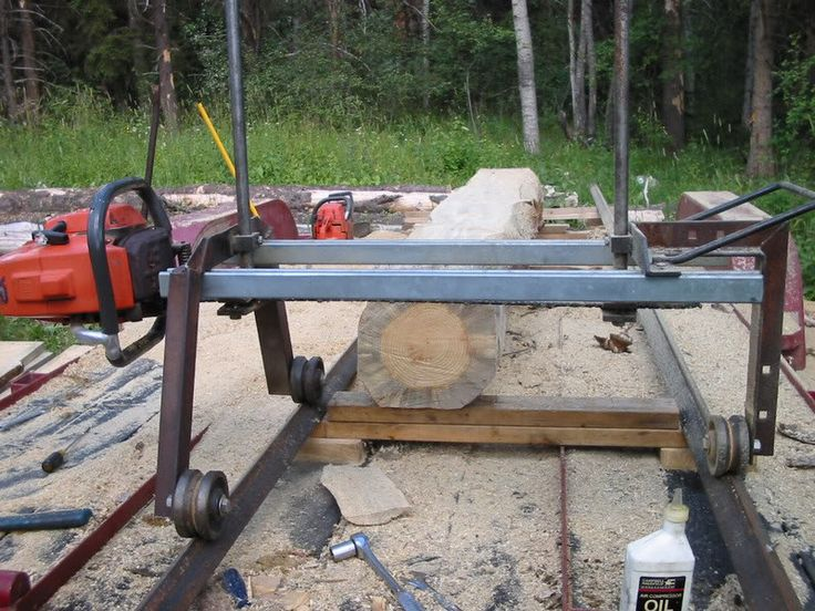 This is my sawmill set up, it doesn't get much simpler and cheaper. I modified my old alasken sawmill toadd the v-wheels, bought two pieces of angle iron and stuck it on my car trailer.