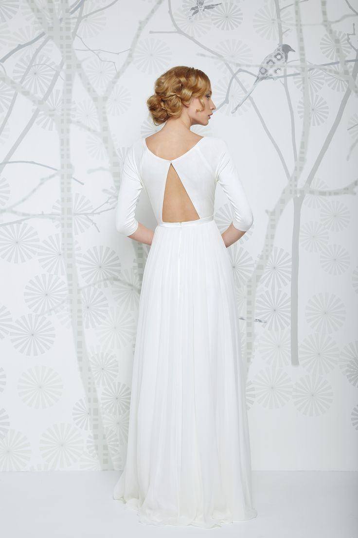 SADONI wedding dress ELITA C with trendy silk jersey boat neckline and flowy chiffon skirt!