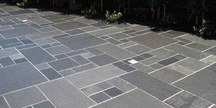 Black Limestone modular paving tiles