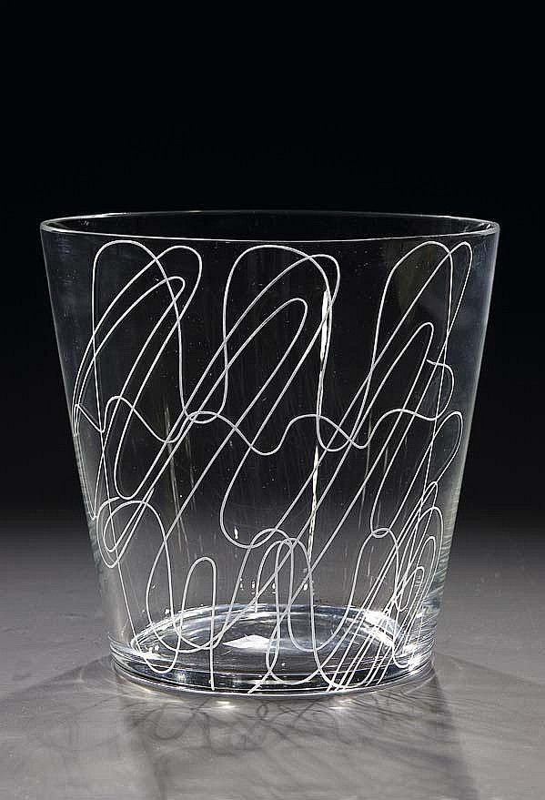 Clear glass vase with line engraving, 1966, H: 17,0 cm