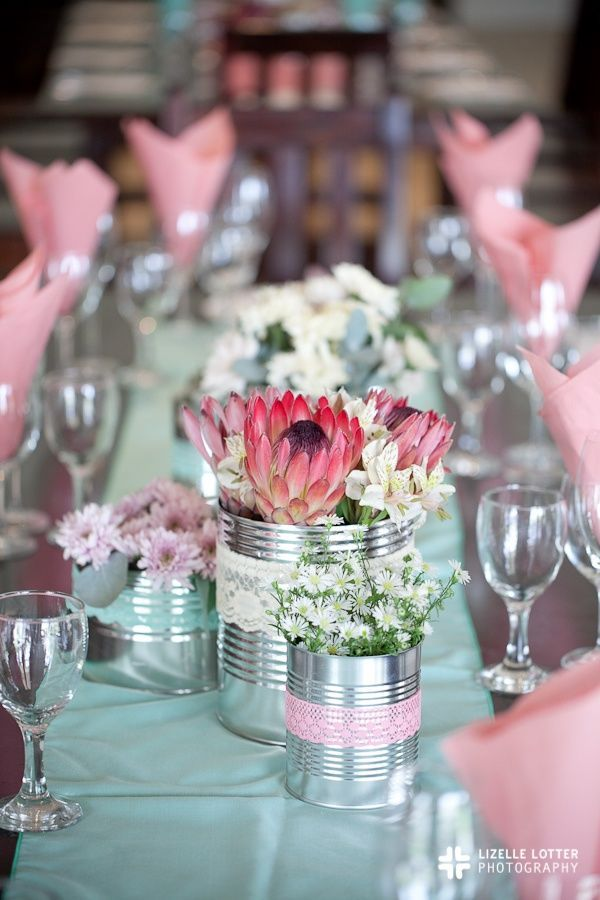 King Protea and tin-can country wedding centerpiece