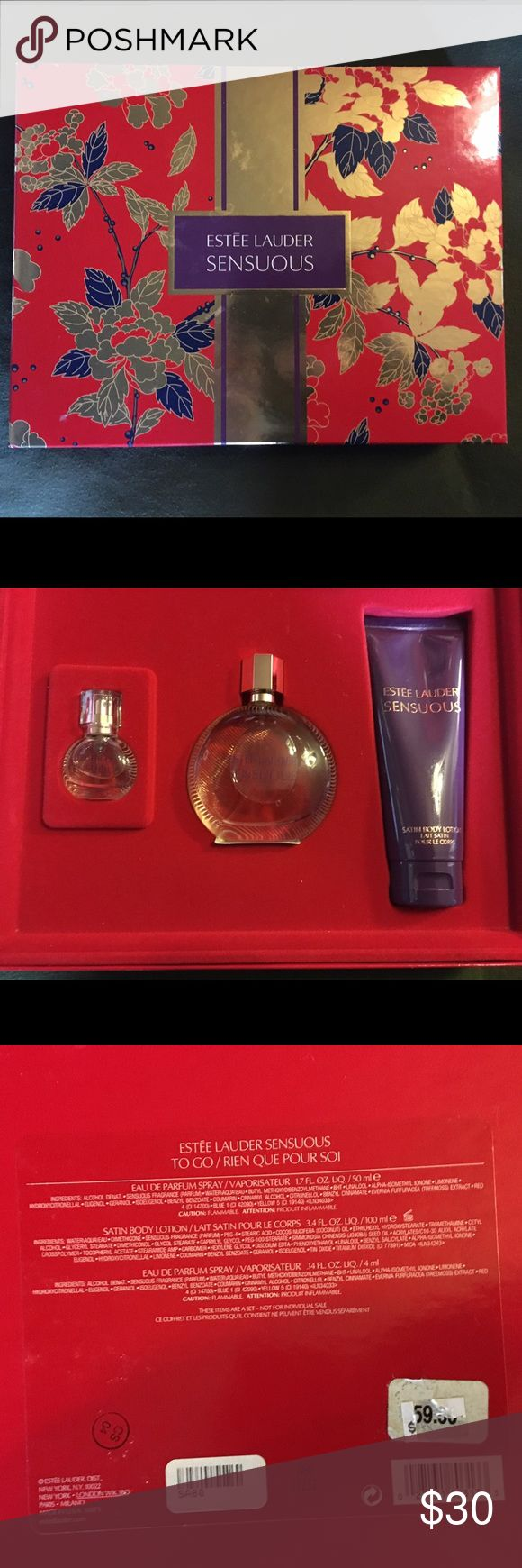 Estée Lauder Sensuous Gift Set Estée Lauder perfume gift set. Brand new never used. Comes with 1.7 oz big perfume. Body lotion. And a smaller .14oz bottle. Price is $59.50 on box Estee Lauder Other