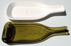 Burgundy happy holidays bottle slumping mold