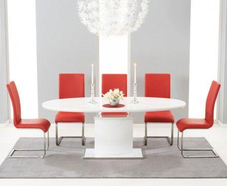 Buy Mark Harris Seville White High Gloss Dining Set