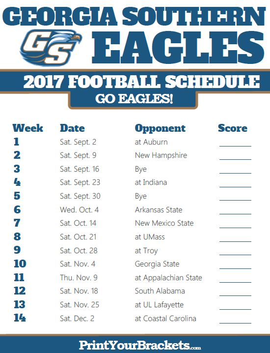 2017 Georgia Southern Eagles Football Schedule Printable College