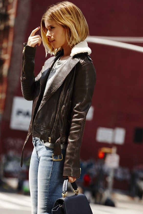 Kate Mara for Piperlime in a black shearling and leather moto jacket and denim.