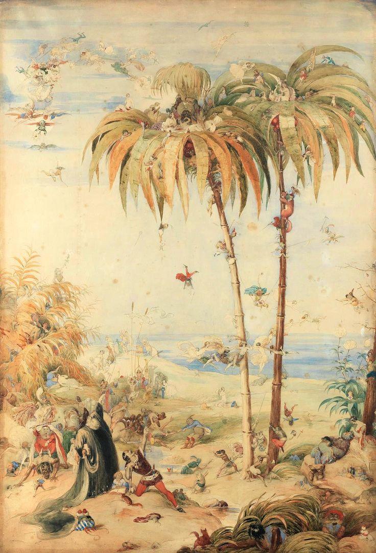 """Richard Doyle - The enchanted fairy tree - 1845 - (Tenia un monton de dudas sobre si ponerlo aqui o en """"Fairy Tales"""". En realidad, esta basado en """"La Tempestad"""" de Shakespeare)"""