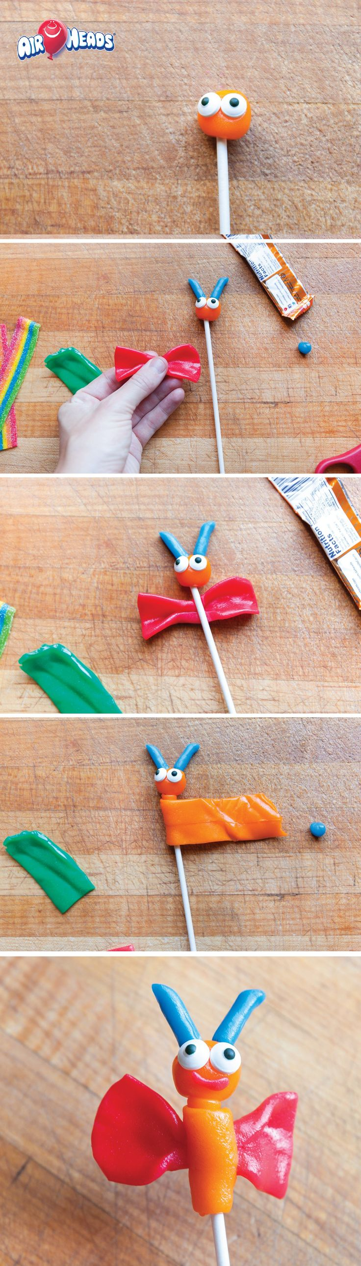 Spend hours laughing and crafting with your kids after school by creating these adorable and edible butterfly friends! Use Airheads candy to cut and sculpt into colorful shapes to create this fun candy craft.