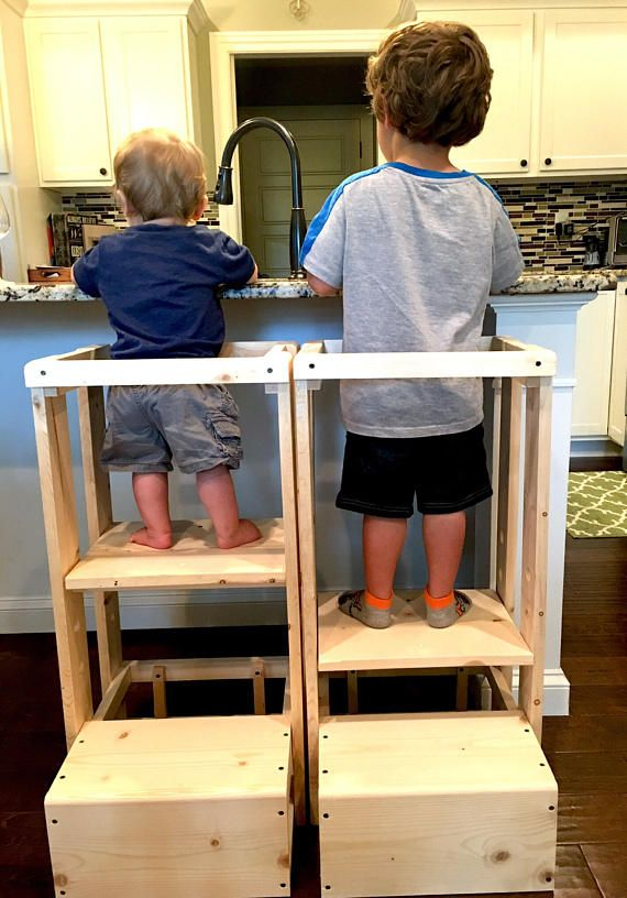 This is the ORIGINAL TeddyGrams adjustable Tot Tower. We have 2 very happy grandsons and over 600 customers. Your childs safety is worth every penny spent on this Tot Tower. We are now shipping these Tot Towers complete and ready to use as you pull it right out of the box! There is NO assembly required. Our Childs Kitchen Helper Step Stool stands 32 tall, 15 1/2 inches wide and the base is 17 1/2  deep. This is perfect for your toddler as they shadow you in their curiosity to learn ...
