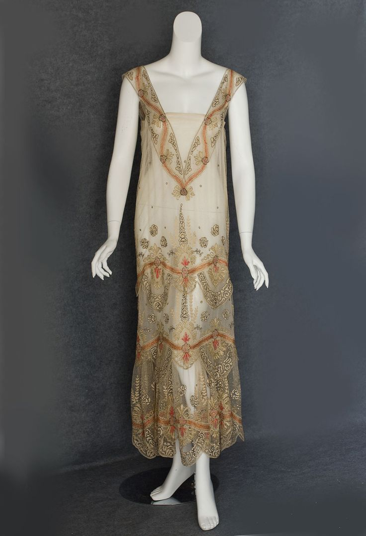 """Metallic embroidered gauze tea dress, c.1930 It measures: 36"""" bust and waist, 38"""" hip, and 55"""" from shoulder to front hem"""