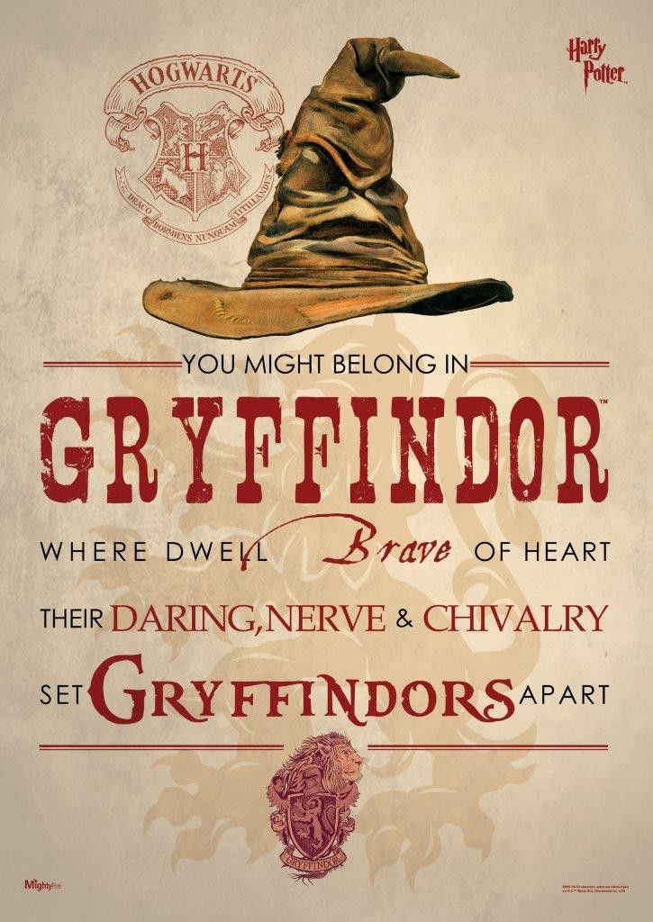 Harry Potter Sorting Hat Gryffindor MightyPrints Wall Art Print