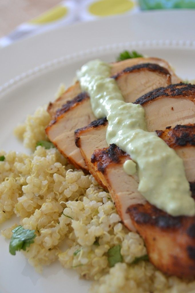 Blackened Chicken and Cilantro Lime Quinoa: Tasty Recipe, Fun Recipes, Avocado Yogurt, Sauces, Food, Blackened Chicken, Limes, Avocado Sauce, Cilantro Lime Quinoa