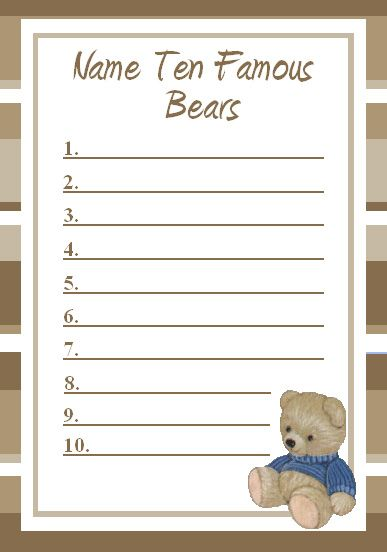 "Printable shower game ""Ten Famous Bears"" (a list of example answers are listed down below the printable game list)"