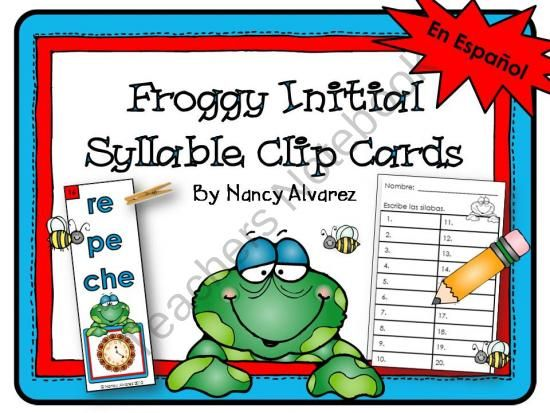 SPANISH: Froggy Initial Syllable Clip Cards  from Teaching With Nancy  on TeachersNotebook.com (7 pages)Initials Syllables, Bilingual Du Languages, Froggy Initials, Bilingual Teachers, Spanish Resources, Clips Cards, Bilingualdu Languages, Syllables Clips, Spanish Literacy