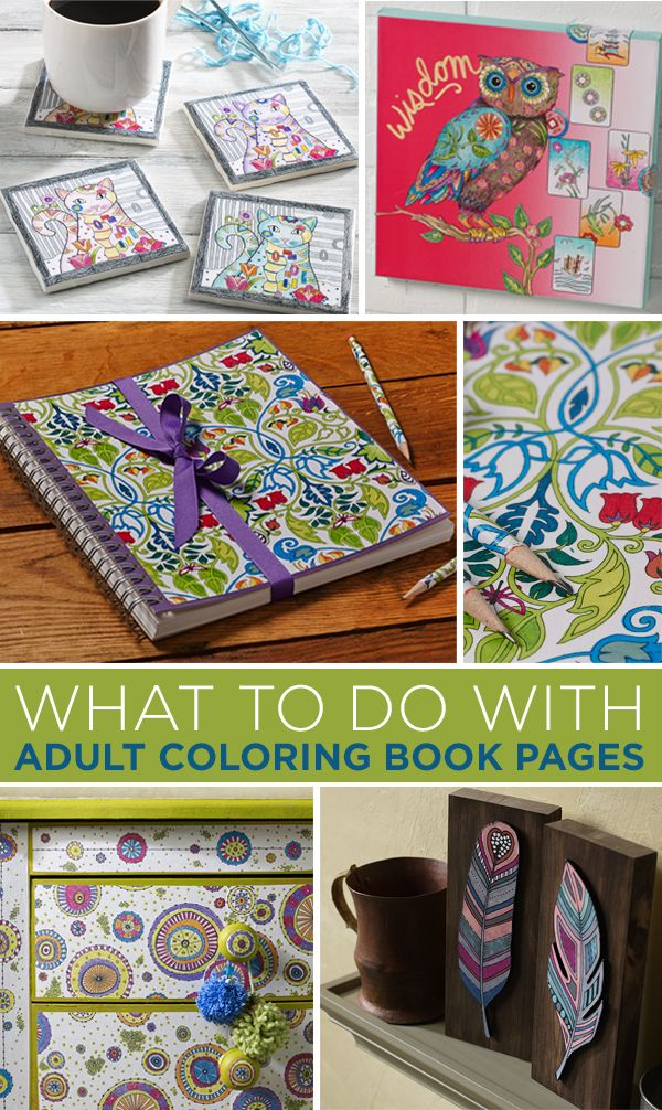 Show off your adult coloring book pages! Use those pretty pages to create presents, DIY home decor and furniture pieces, decoupage coasters and more with Mod Podge in these seven ideas to craft with your pages.