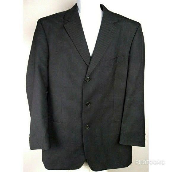 Men's Hugo Boss 44 R charcoal black suit jacket 3 button #HUGOBOSS #BasicJacket