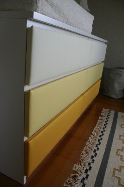 Upholstered drawers -- Ikea Malm dresser hack: Dressers Drawers, Upholstered Malm, Ikea Hacks, Clever Ideas, Ikea Hackers, Malm Drawers, Otto Malm, Nurseries Upholstery, Fabrics Covers