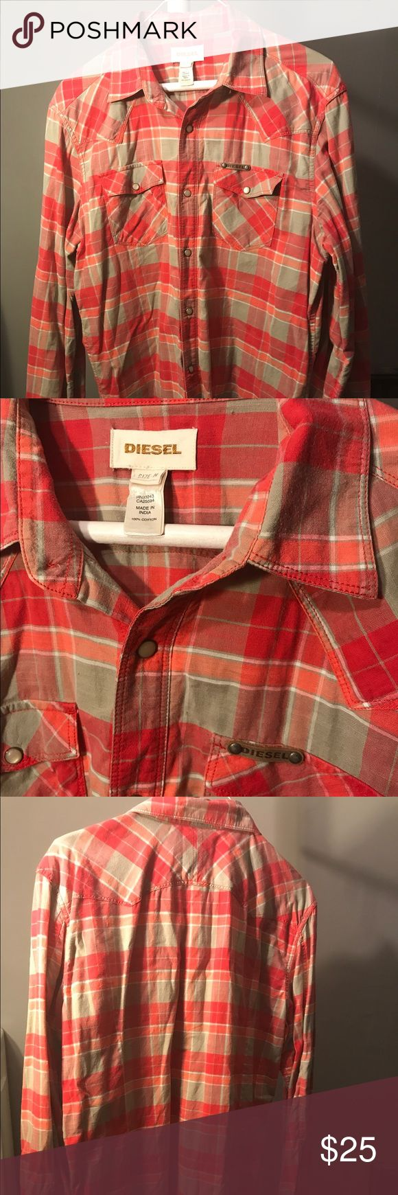 Diesel shirt. Size - Medium. Good quality Medium Diesel shirt. No stains. Good quality. Red, White and Gray. Diesel Shirts Casual Button Down Shirts