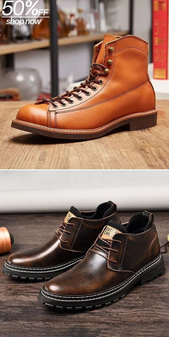Men Lace Up Retro Ankle Boots Casual Martin Boots Leather Boots Boots Boots Men