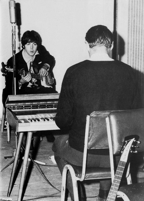 Paul in the studio with George Martin during the Rubber Soul sessions, 1965.Scan from Beatles Book Monthly No. 312.