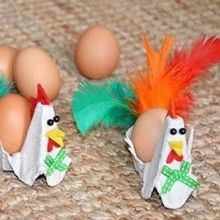 Un joli petit coquetier poule fabriqué avec une vieille boîte à œufs en carton... voilà un chouette {DiY} Récup pour les kids !!