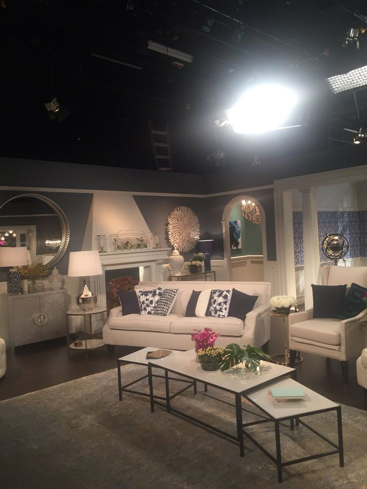 Real Housewives of Sydney Reunion Set - Formal Living Room Hamptons Style with White and Navy Patterned Cushions