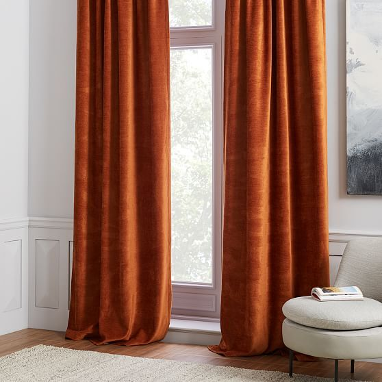 Worn Velvet Curtain Copper In 2019 Velvet Curtains