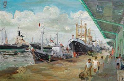 >> LUKISAN KARYA S. SUDJOJONO ~ Pelabuhan Tanjung priok, auction by Sotheby's Hongkong
