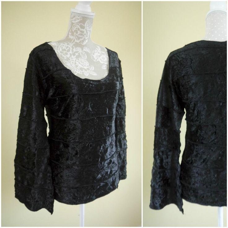 Gothic 90s Grunge Velour Ladies Top | Gothic Clothing | Metal Head | Rocker clothing | Larp Clothing | Emo Clothing | Fantasy Clothing. UK M by Venelle on Etsy