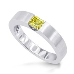 Guys!    this wedding ring by Leibish & Co is as individual as we are. This contemporary mens diamond wedding band is flush set in 18kt whitegold with a 0.40cts Emerald Cut Fancy Intense Greenish Yellow Diamond.