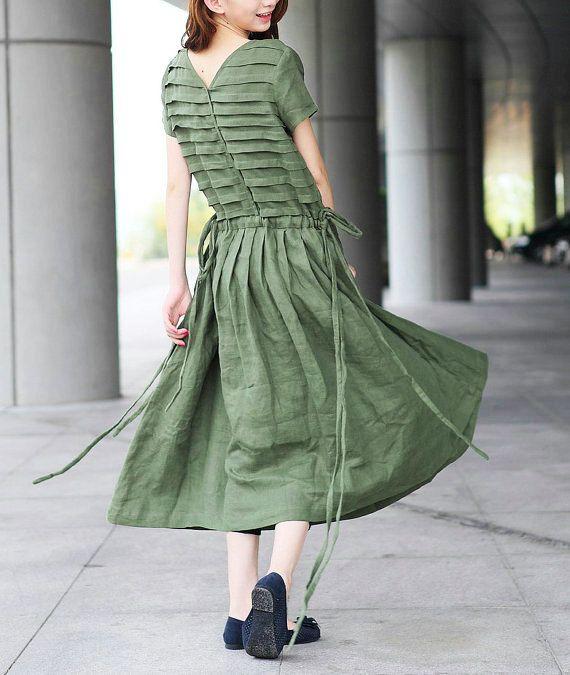Olive Linen Green Dress / Vestido de tirantes por camelliatune