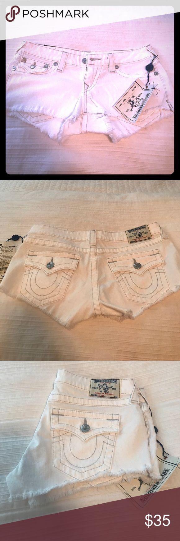 True Religion White cutoff jean shorts NWT True Religion White cutoff jean shorts NWT size 27 True Religion Shorts Jean Shorts
