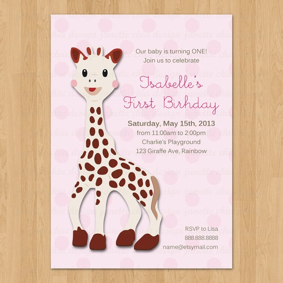 23 best images about Eloises Sophie the Giraffe First Birthday – Giraffe Party Invitations