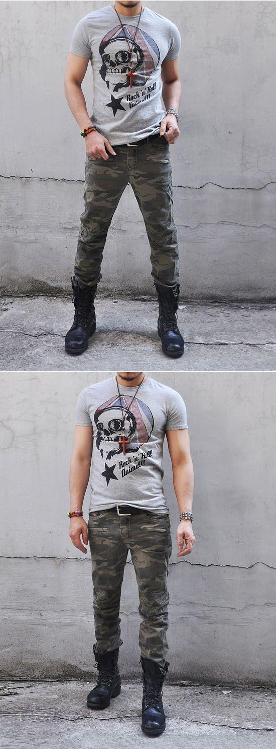 Bottoms :: Calças :: camuflagem militar Costura Biker-Calças 25 - Mens Fashion Roupas Pará hum Cara aparencia atraente