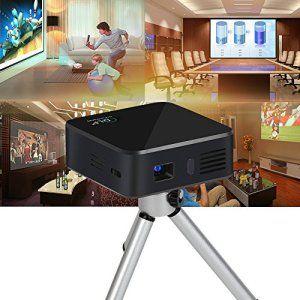WIFI DLP Vidéoprojecteur Rechargeable, Pico LED Mini HD Rétroprojecteur Bluetooth (pour Casque / Haut-parleur / Souris / Clavier /…