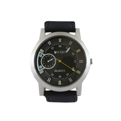 Menjewell Look Black Leather Belt Silver Colour Round Slim Dial DELTON Watch - For Men  Rs. 375/- watch for mens,luxury watches online,watches for men brands top 10,wrist watch online,watches for men on sale,online watches for mens,luxury watches for men,watches for boys,mes jewellery , mens fashion www.menjewell.com