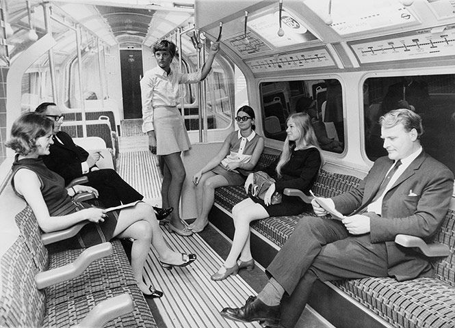 Credit: Ron Case/Getty Images A mock-up at the 'Victoria line' exhibition at the Design Centre, London, of the interior of a new type of carriage that would be used on the new Victoria line, 20 August 1968. The new carriages feature lengthways seating to allow more room for standing passengers, two-level arm rests, which can be shared by adjacent passengers, and internal speakers for driver announcements.