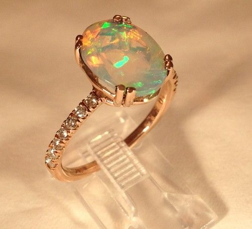 Beautiful Faceted Oval Ethiopian Welo Opal Diamond Ring Size 7. LOVE