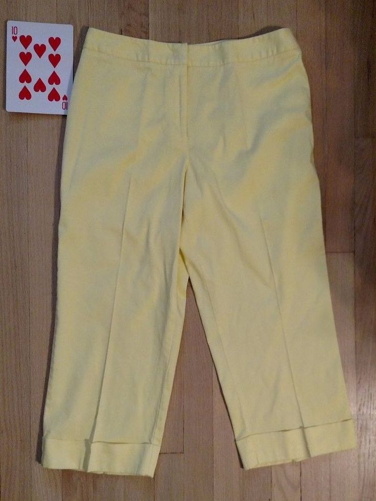 Dress Barn Womens Capri Pants SZ 12 Yellow Pant Cuffs 97% Cotton 3% Spandex EUC #Dressbarn #CaprisCropped