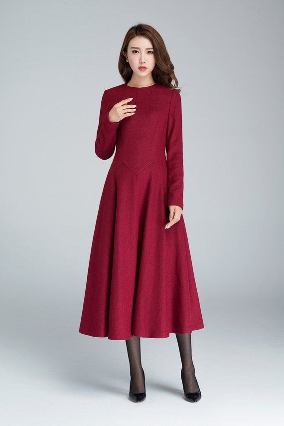 Wool Dress Vintage Womens Dresses Casual Red Dress Women Etsy In 2020 Red Dress Women Wine Red Dress Red Dress Casual