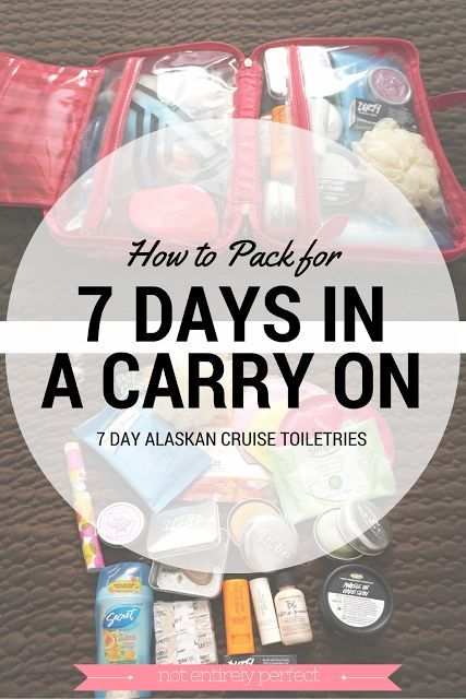 Alaskan Cruise In a Carry On - How to pack for a 7 day Alaskan cruise using only a carry on, no checked baggage required!  A look at what toiletries and makeup packed, including what to put in the quart size TSA liquids bag.