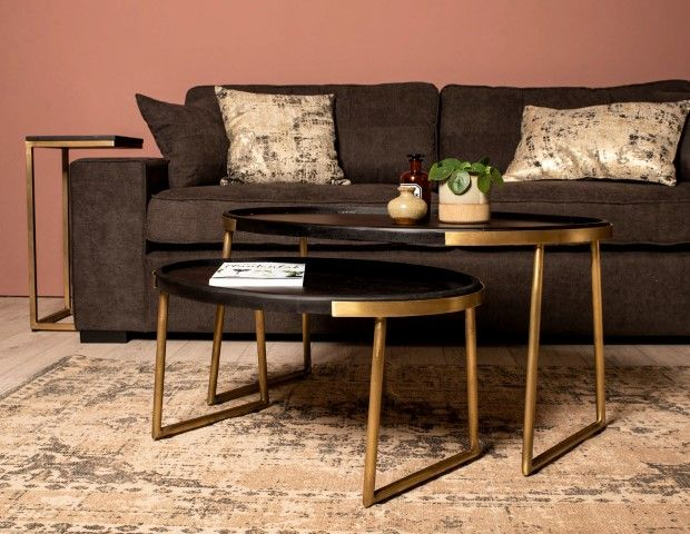 2 Piece Coffee Table Set Paulson Mango Wood Antique Gold