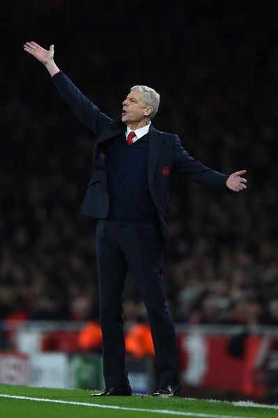 Arsene Wenger the manager of Arsenal reacts during the UEFA Champions League round of 16, first leg match between Arsenal FC and FC Barcelona at the Emirates Stadium on February 23, 2016 in London, United Kingdom.