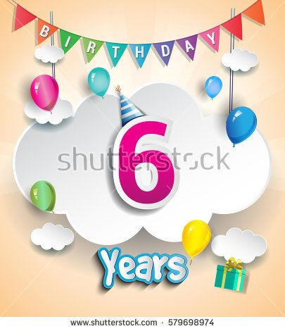six Years Birthday Design for greeting cards and poster, with clouds and gift box, balloons. using Paper Art Design Style. vector elements for anniversary celebration.