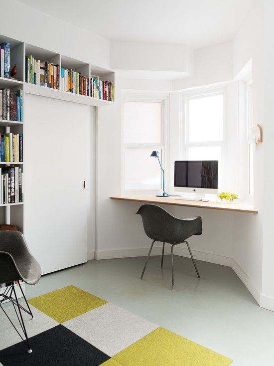 furniture home office with modern fitted bookshelves and white cool modern sliding door also