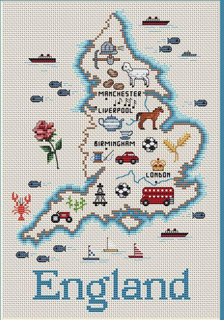 England Map - Cross Stitch Pattern