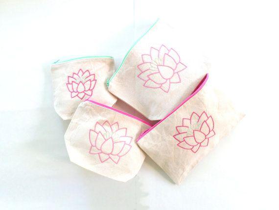 Pink Lotus Flower Zipper Bags / Hand Embroidered / Zipper