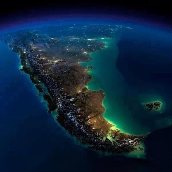 Satellital photograph of my country Argentina and the beautifuls Chile and Uruguay, also the Falklands islands